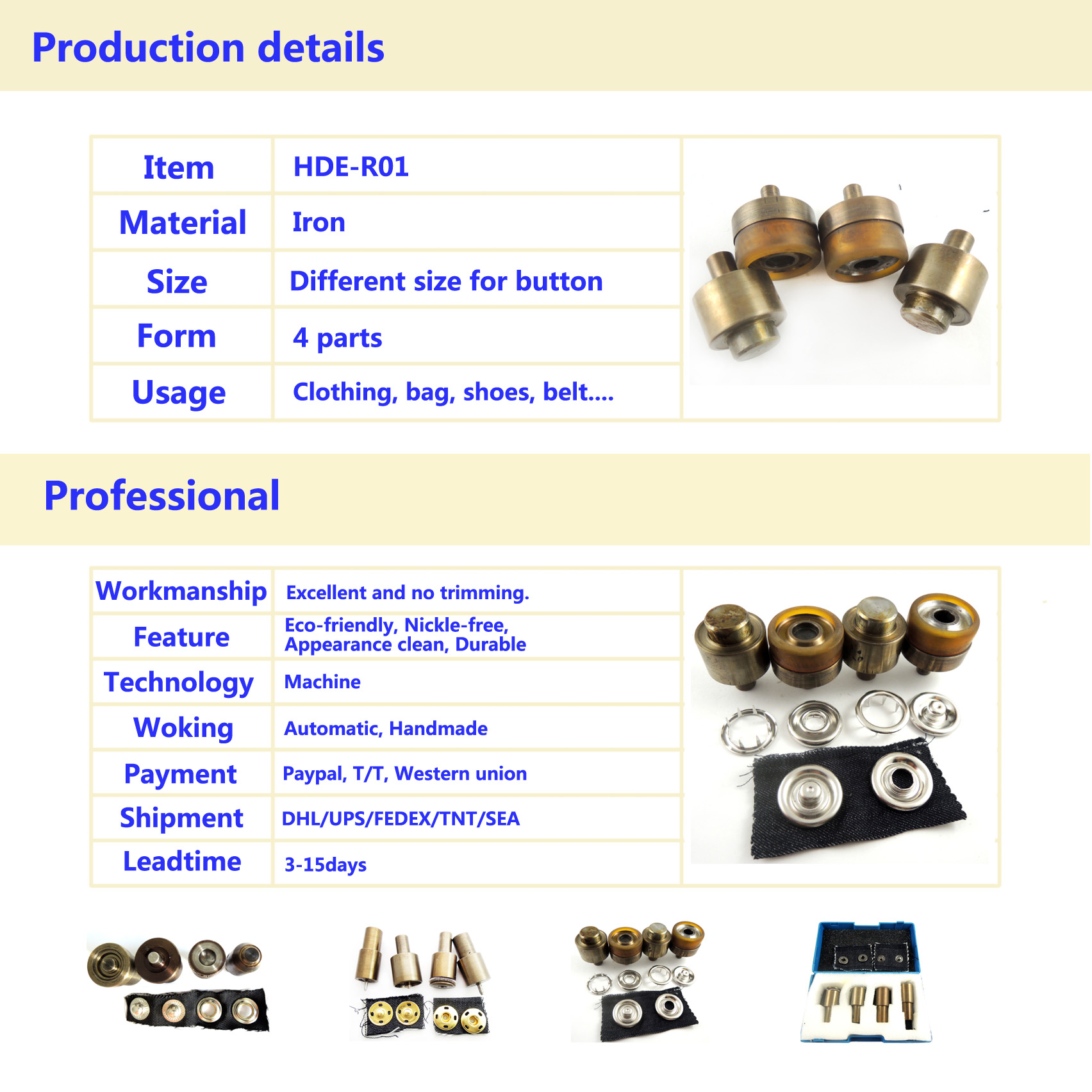 17mm Six paw Ring Snap button die set/ button mould /button tool