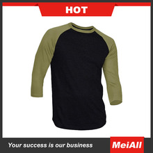 Baseball Tops O Neck Raglan Sleeve Mens 3/4 Sleeve T Shirt