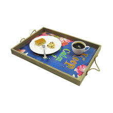 Decorative unique printed MDF natural cheap food wooden serving tray