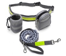 Hands Free Running Dog Leash Waist Belt Elastic Leash Multiple Waist Bags with Adjustable Strap