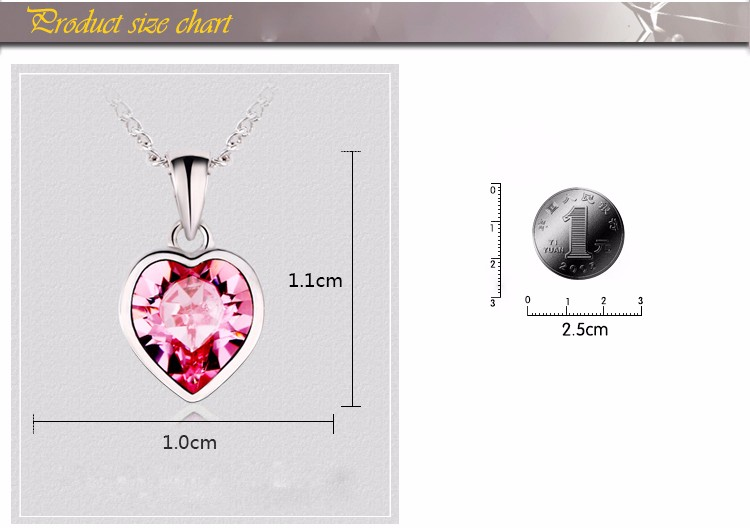 Wholesale custom fashion lady necklace jewelry unique heart blue sapphire crystal pendant charm necklace