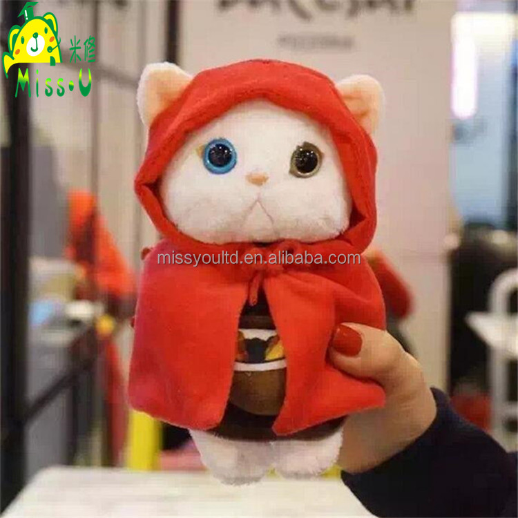 Wholesale High Quality Lifelike White Cat Plush Material Mobile Phone Cover