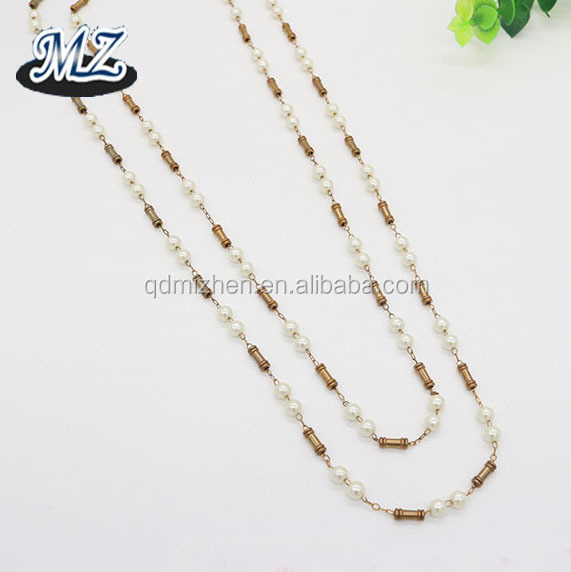 New jewelry findings type rosary pearl beads brass chain