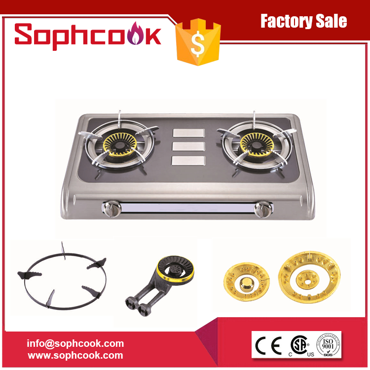 industrial lpg piezo ignition 2 burner gas cooktop for sale