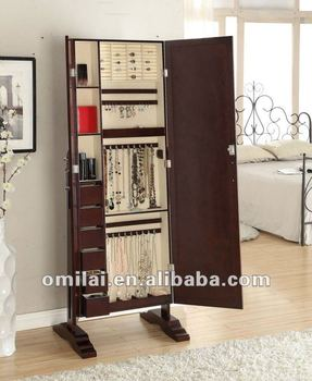 mirrored jewelry armoire with double doors