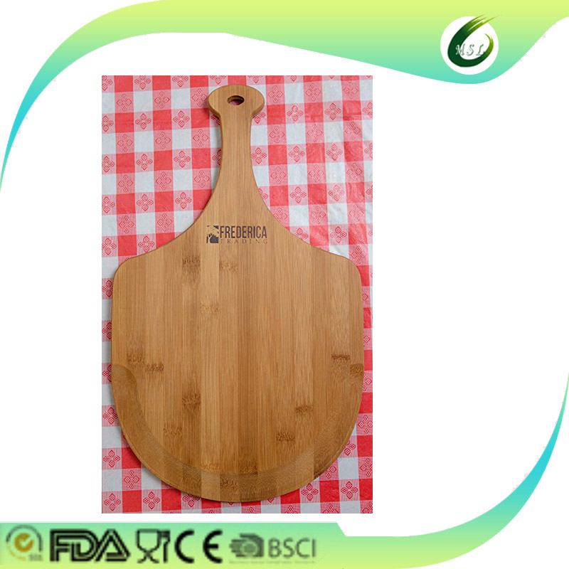 Wood pizza peel serving tray cutting board