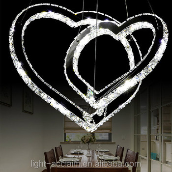 Modern restaurant decorative led led heart crystal pendant light