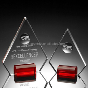Red base free standing globe engraved clear glass plaque trophy