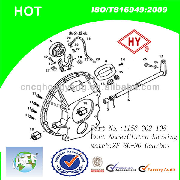 S6-90 Gear Box Clutch For Bus /Kinglong/Yutong/Higer (1156 302 108)
