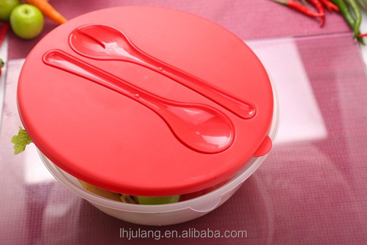 Plastic transparent salad bowl /Wholesale big plastic salad bowl set with lid
