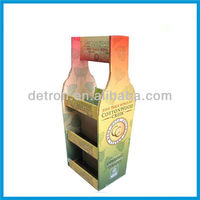 Zooming Cardboard Display Rack Wine Display Stand With Trays