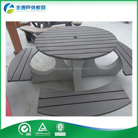Outdoor picnic table, plastic wood and galvanized steel base, wood and stone dining table