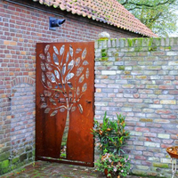 corten steel trees and leaves outdoor metal wall hanging art