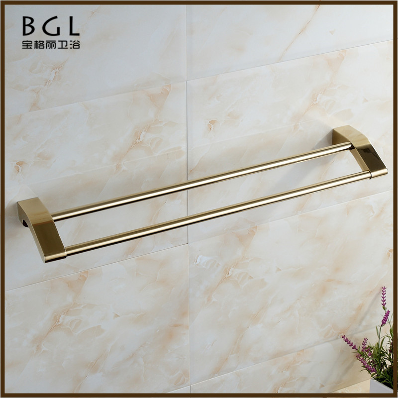 17925 chinese supplier bathroom accessories set gold plating double towel bar high quality towel rail