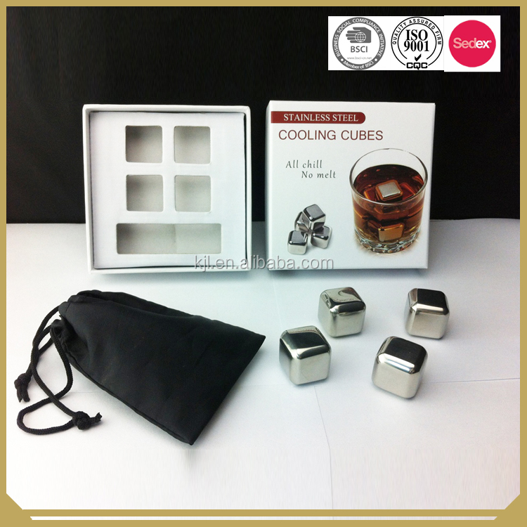 stainless steel ice cube whisky stone with promotional gift box