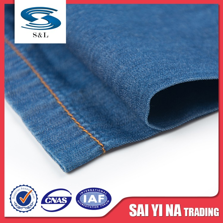 Wholesale 100% polyester yarn dyed woven thin and light denim fabric for supplier