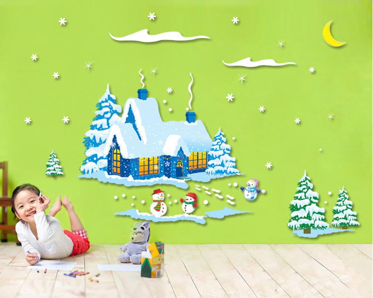 ALFOERVER shop window pvc christmas wall sticker,christmas wall decals