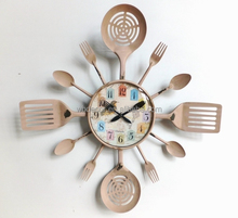 Rust Style Kitchen Wall Clock with Knife, fork and spoon hands