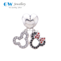 Lovely Mickey Mouse Dangling 925 Silver Charms Crystal Charms S121 Globalwin