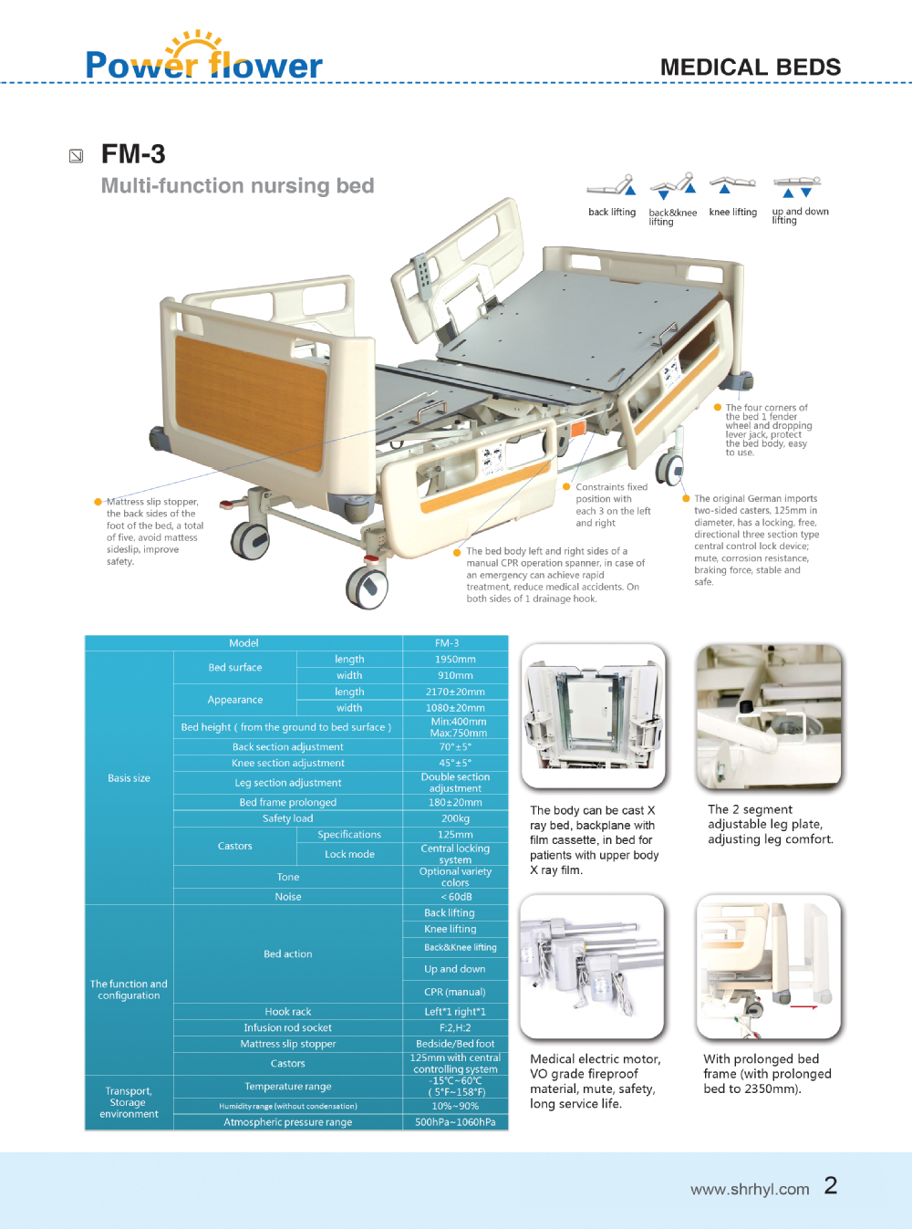 Popular! FM-1 New type hospital manual bed