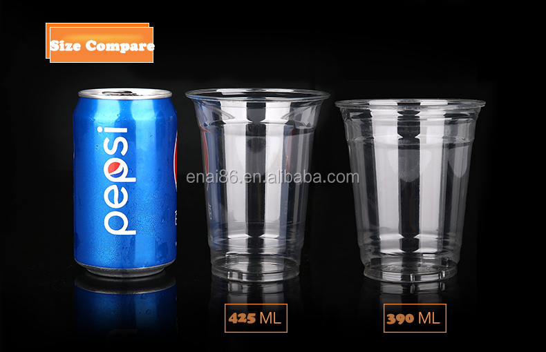 PET Brand printed take away plastic ice coffee cup with dome lid