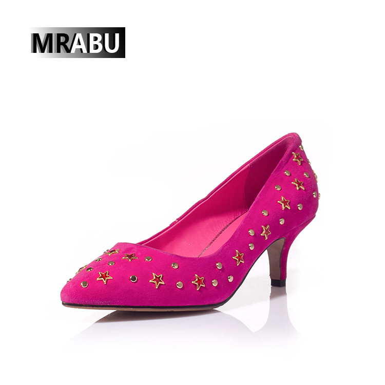 MRABU 2017 hot bulk shoe sales service shoes prices in pakistan rivets and five-pointed stars low price High heel shoes