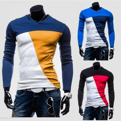 Free Shipping Lasted Fashion <strong>O</strong>-neck Contrast Color Cotton T-shirt Long Sleeve Shirt Slim Fit Casual Men T-Shirt M-2XL