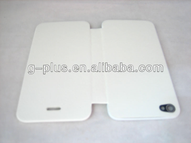 White Leather Flip Cover Carrying Case Pouch for iPhone 4S (for all version) / iPhone 4 (for US CDMA Verizon version)