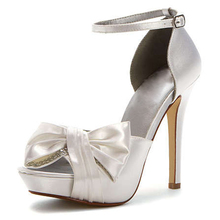 Women Ivory Satin Flower Low Heel Bridal Wedding Shoes