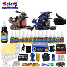 Solong starters Beauty Equipment 2Gun /14 Inks /Power Supply Tattoo Kit Professional Top quality Tattoo Machines kit