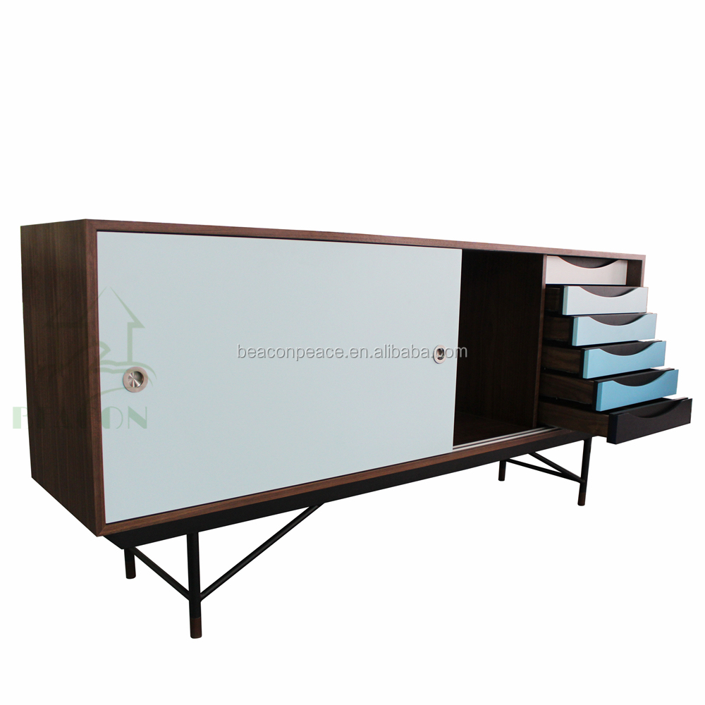 TV unit, wooden storage, Finn Juhl colorful Danube sideboard cabinet