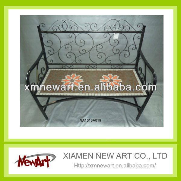 Powder Coated Modern Style Outdoor Iron Metal Mosaic Bench