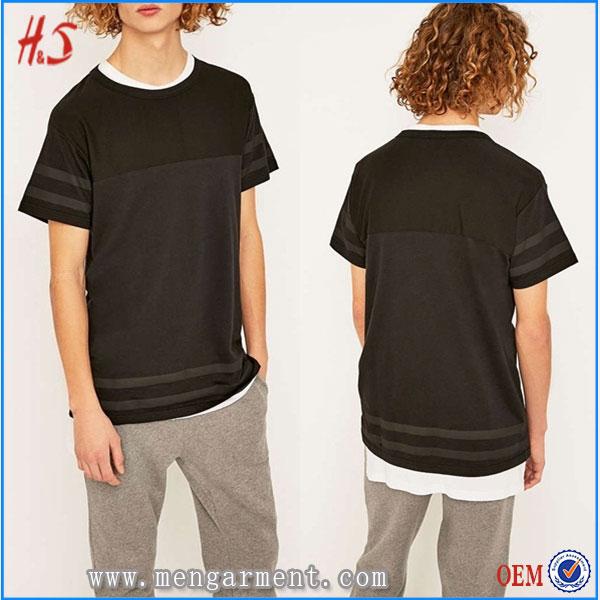 Men new clothing mass production designer longline t for Mass t shirt production
