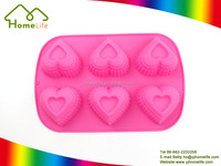 6 cavity heart shaped pudding molds cookies pans silicone cake mold