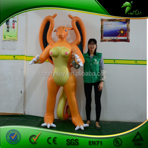 Human Size Inflatable Sex Flying Dragon Toys with SPH , Inflatable Standing Orange Dragon with Boobs for Man