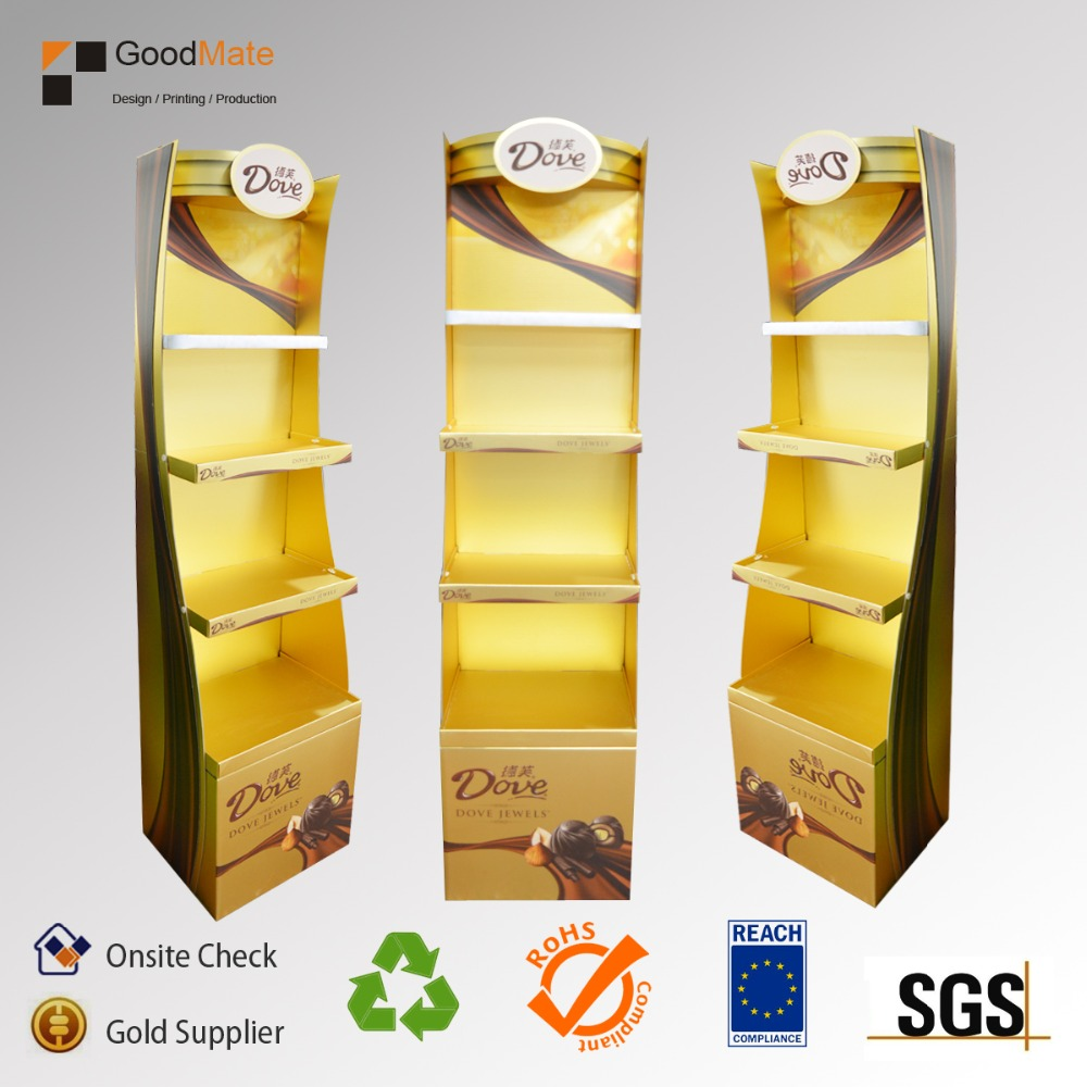 Special design cardboard stands paper floor displays with 4 shelves