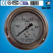 "factory selling 3.5"" 80mm stainless steel oil filled glycrine/ silicone low pressure gauge with flange manometer for customized"