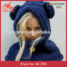 W-354 stylish children cute knitted warm crochet hooded cowl hat with scarf