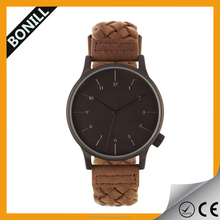 2015 brand new custom fashion watches brown braided leather strap, IP black stainless steel case , 4H crown ,