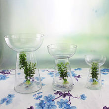 hot selling art vase for promotion wine martini glass vase pedestal clear glass vase