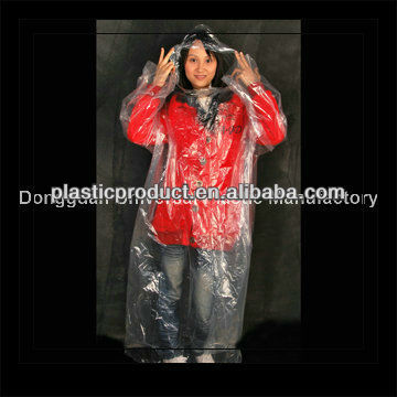 Disposable plastic hooded raincoats