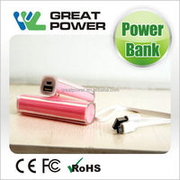 Top level new products lipstick power bank for iphone 5 for ipad