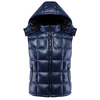 OEM Designer Winter Cotton Mens Sleeveless Leather Jacket with Removable Hood
