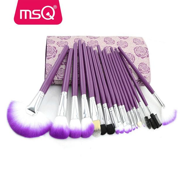 MSQ 18pc purple rose bag best cosmetic brush sets fashion fragrances cosmetics ltd