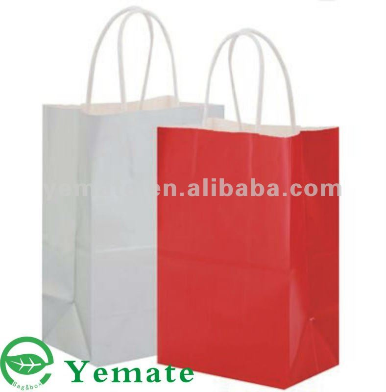 Xiamen hot sale white kraft paper bag for shopping