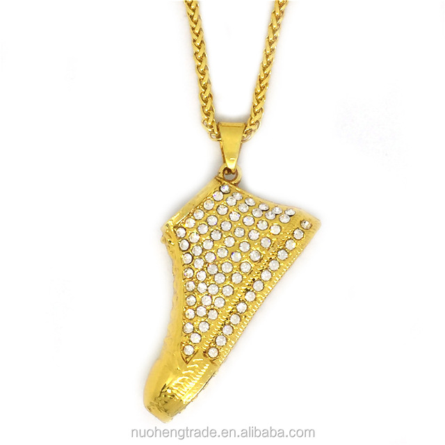 Hip Hop Gold Plated Micro Paved Sports Racing Shoe crystal Pendant Necklace