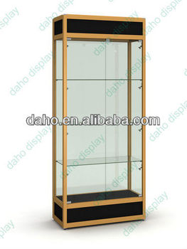 new fashion glass store display showcase with LED lighting