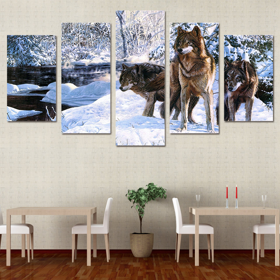 5 Pcs set Framed HD Printed Wolf Snow Ice Lake Animals Canvas Wall Art Canvas Print Photos Oil Painting Artworks