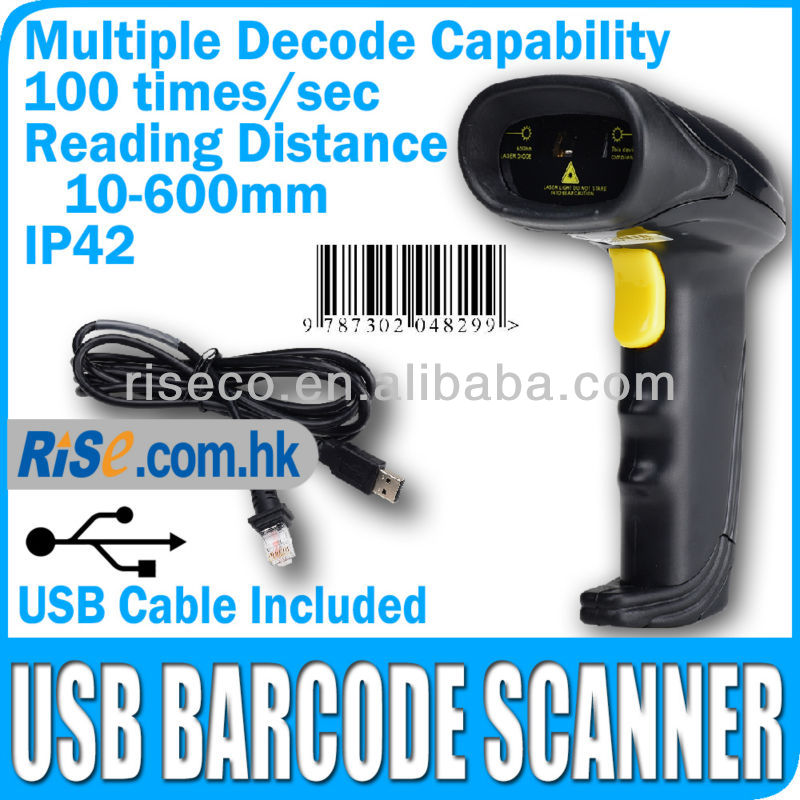 Reader Bar Code POS Handheld 100 times/sec Automatic Laser USB Barcode Scanner
