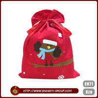 Funny kids christmas gift durable polyester felt wholesale hot selling santa bag